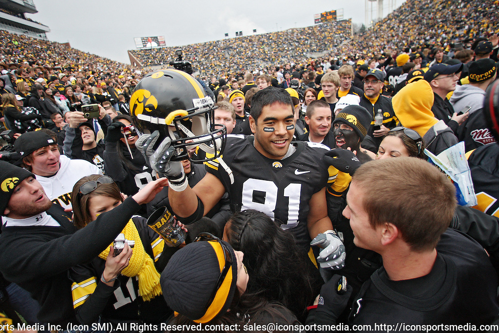 November 21, 2009: Iowa tight end Tony Moeaki (81) is surrounded by fans after the Iowa Hawkeyes 12-0 win over the Minnesota Golden Gophers at Kinnick Stadium in Iowa City, Iowa on November 21, 2009.