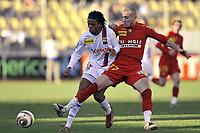 Fotball<br /> Frankrike<br /> Foto: Dppi/Digitalsport<br /> NORWAY ONLY<br /> <br /> FOOTBALL - FRENCH LEAGUE CUP 2007/2008 - 1/4 FINAL - LE MANS UC v OLYMPIQUE LYONNAIS - 16/01/2008 - LOIC REMY (LYON) / HASSAN YEBDA (MANS)<br /> <br /> LYON