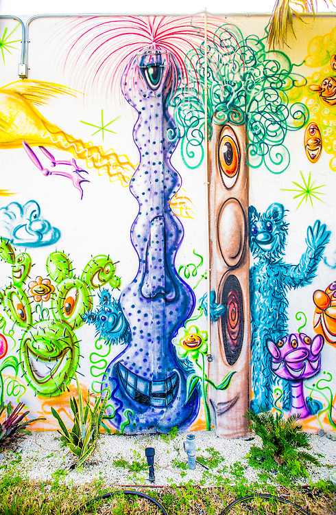 Detail of mural in the Wynwood Garden by pop-artist Kenny Scharf