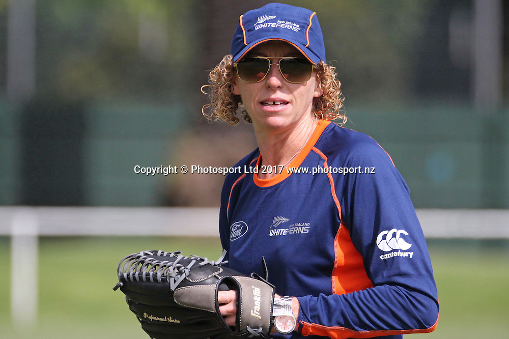 Haidee Tiffen.<br /> White Ferns T20 squad training at the George Cricket Ground, St Kilda, Melbourne. 16 February 2017.<br /> Copyright photo: Margo Butcher / www.photosport.nz