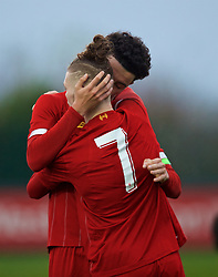 KIRKBY, ENGLAND - Wednesday, November 27, 2019: Liverpool's captain Curtis Jones (R) kisses team-mate Harvey Elliott as he celebrates scoring the fourth goal during the UEFA Youth League Group E match between Liverpool FC Under-19's and SSC Napoli Under-19's at the Liverpool Academy. (Pic by David Rawcliffe/Propaganda)