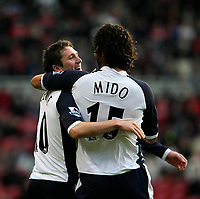 Photo: Andrew Unwin.<br /> Middlesbrough v Tottenham Hotspur. The Barclays Premiership. 18/12/2005.<br /> Tottenham's Robbie Keane (L) celebrates his first goal with his team-mate, Mido (R).
