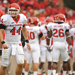 Sep 26, 2009; College Park, MD, USA; Rutgers linebacker Ryan D'Imperio (44) gets ready to take the field before Rutgers' 34-13 victory over Maryland in NCAA college football at Byrd Stadium.