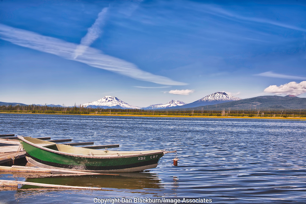 Crane Prairie Reservoir Oregon with South Sister, Broken Top and Mt. Bachelor in the Background