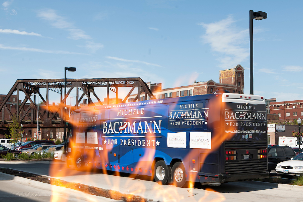 Republican presidential hopeful Michele Bachmann's campaign bus is parked outside the Hotel Blackhawk on Sunday, July 24, 2011 in Davenport, IA.