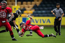East Kilbride Pirates loses his footing on the run - Mandatory by-line: Jason Brown/JMP - 27/08/2016 - AMERICAN FOOTBALL - Sixways Stadium - Worcester, England - Kent Exiles v East Kilbride Pirates - BAFA Britbowl Finals Day