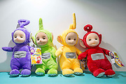 UNITED KINGDOM, London: 25 January 2016 New Teletubbies cuddly toys on display at The Toy Fair at Olympia, the UK'S only dedicated game and hobby event with more than 260 toy and gaming brands. The fair runs until tomorrow. Rick Findler / Story Picture Agency