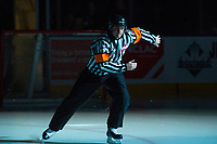 KELOWNA, CANADA - FEBRUARY 14:  Referee Mike Langin enters the ice at the Kelowna Rockets against the Red Deer Rebels on February 14, 2018 at Prospera Place in Kelowna, British Columbia, Canada.  (Photo by Marissa Baecker/Shoot the Breeze)  *** Local Caption ***