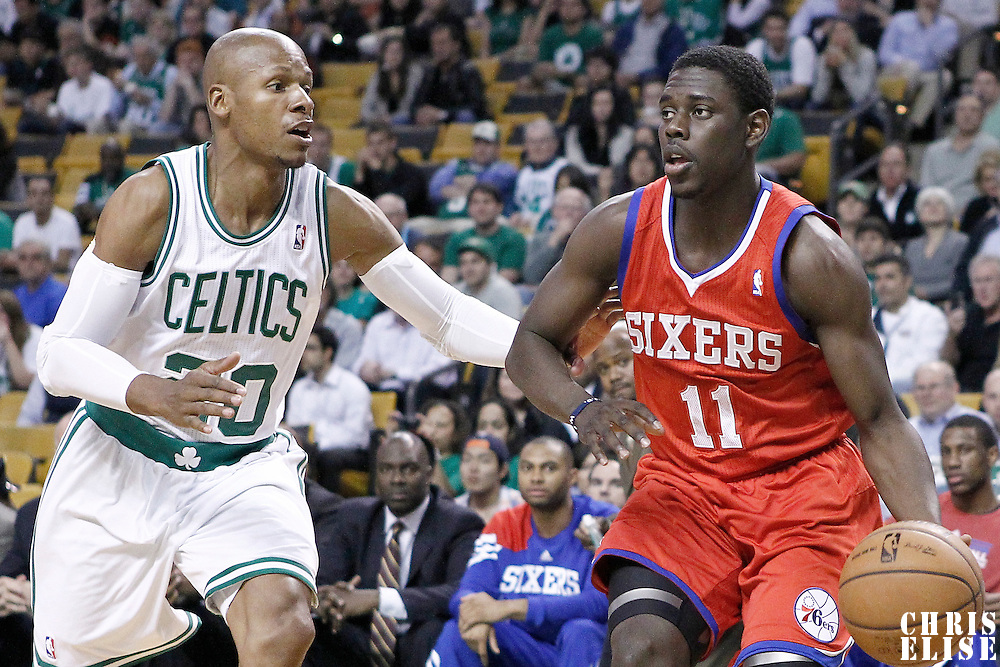 21 May 2012: Philadelphia Sixers point guard Jrue Holiday (11) drives past Boston Celtics shooting guard Ray Allen (20) during the Boston Celtics 101-85 victory over the Philadelphia Sixer, in Game 5 of the Eastern Conference semifinals playoff series, at the TD Banknorth Garden, Boston, Massachusetts, USA.