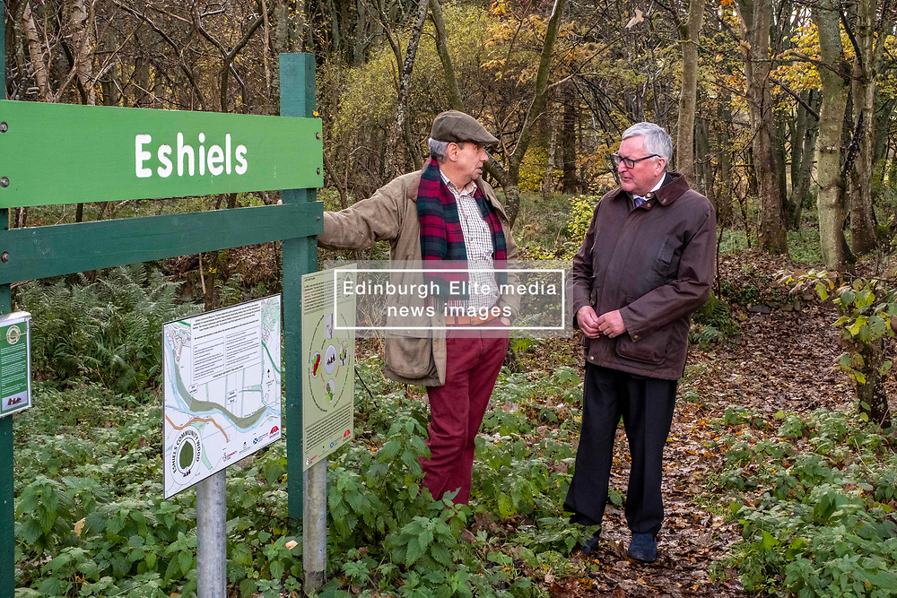 Pictured: Lawrie Hayworth, Chair, Peebles Community Trust and Fergus Ewing <br /> <br /> Fergus Ewing visited Eshiels Woodland, which was recently acquired by Peebles Community Trust through Forestry and Land Scotland's community asset transfer scheme. He was shown around by Lawrie Hayworth, Chair of Peebles Community Trust