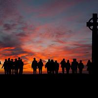 People, walking, to, Tennyson Monument, Freshwater, Isle of Wight, England, UK,