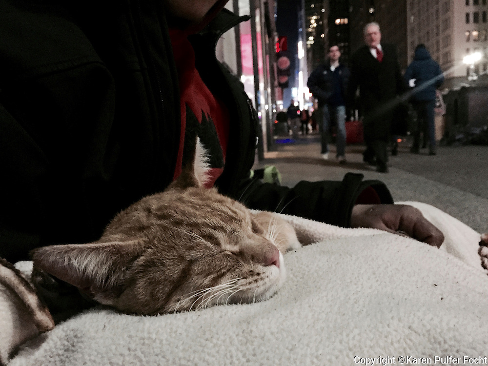A homeless man and his cat snuggle together to keep each other warm in midtown Manhattan late Thursday night. Mayor BILL DE BLASIO is asking New York City landlords for help with housing the homeless.