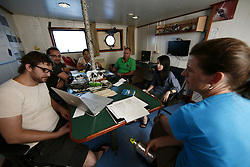 INDIAN OCEAN 10APR13 - Campaign office on board the Greenpeace ship Esperanza in the Mozambique Channel.<br /> <br /> The Greenpeace ship Esperanza is on patrol documenting fishing activities in the Indian Ocean.<br /> <br /> jre/Photo by Jiri Rezac / Greenpeace