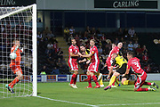 Burton Albion forward Liam Boyce (27) heads a goal 1-0 during the EFL Cup match between Burton Albion and Morecambe at the Pirelli Stadium, Burton upon Trent, England on 27 August 2019.