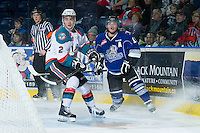 KELOWNA, CANADA - JANUARY 2: Jesse Lees #2 of the Kelowna Rockets skates on the ice opposite the Victoria Royals at the Kelowna Rockets on January 2, 2013 at Prospera Place in Kelowna, British Columbia, Canada (Photo by Marissa Baecker/Shoot the Breeze) *** Local Caption ***