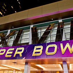 Jan 19, 2013; New Orleans, LA, USA;  A general view of a Super Bowl banner outside the Hyatt hotel as preparations are made for Super Bowl XLVII between the Baltimore Ravens and the San Francisco 49ers at the Mercedes-Benz Superdome.  Mandatory Credit: Derick E. Hingle-USA TODAY Sports