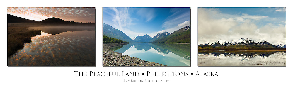 Triptych of reflections on Wonder Lake, Eklutna Lake, and pond along Copper River Delta in Alaska.