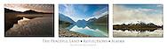 Triptych of reflections on Wonder Lake, Eklutna Lake, and pond along Copper River Delta in Alaska.