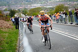 Megan Guarnier (USA) battles up the final 250m of the Cow and Calf climb at ASDA Tour de Yorkshire Women's Race 2018 - Stage 2, a 124 km road race from Barnsley to Ilkley on May 4, 2018. Photo by Sean Robinson/Velofocus.com