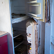 Guayama, Puerto Rico - July 6, 2018: The refrigerator in the kitchen of Pedro Ortiz's house destroyed by Hurricane Maria. His son Devin plays for the 12 and Under selection from Guayama which will compete in Little League World Series.<br /> (Angel Valentin for ESPN)