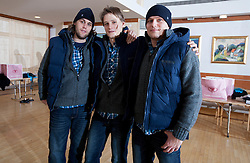 Dean Bombac, Jure Dolenec and Marko Bezjak of Slovenian Handball Men National Team when they get new clothes of Sportina Group for the EHF European Championship EURO 2012 in Serbia, on January 11, 2011, in Zrece, Slovenia. (Photo by Vid Ponikvar / Sportida)