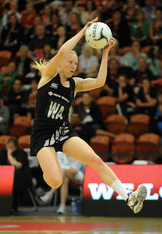 New Zealands' Laura Langman against Malawi in the International Netball test at Pettigrew Green Arena, Napier, New Zealand, Sunday, October 27, 2013. Credit:SNPA / Ross Setford