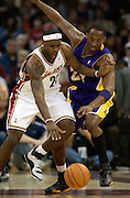 NBA superstars LeBron James of the Cleveland Cavaliers and Kobe Bryant of the Los Angeles Lakes faced off on Sunday, Feb. 11, night at Quicken Loans Arena in Cleveland. Pictured here during the first quarter.