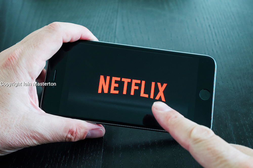 Logo of Netflix on-demand Movie and TV streaming service app on iPhone 6 plus smart phone