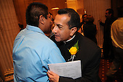 The 12th annual Noche De Gala event is celebrated at the Chicago Hilton and Towers Grand Ballroom. The recognition banquet is presented by the Archdiocese of Chicago's Office of Hispanic Ministry. This year's event offers thanks to Fr. Claudio Diaz Jr., who ends his 6 year term as Director of the Office for Hispanic Catholics. Introduced as the new Director is Fr. Marco Mercado.