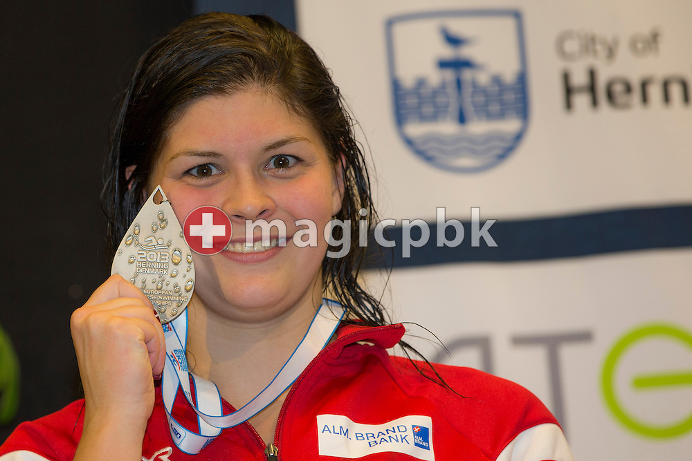 Lotte FRIIS of Denmark poses with her Silver medal during the award ceremony after finishing second in the women's 400m Freestyle Final during the 17th European Short Course Swimming Championships held at the Jyske Bank BOXEN in Herning, Denmark, Saturday, Dec. 14, 2013. (Photo by Patrick B. Kraemer / MAGICPBK)
