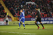 Cardiff City midfielder, Anthony Pilkington (13) thinking he scored but was offside during the Sky Bet Championship match between Charlton Athletic and Cardiff City at The Valley, London, England on 13 February 2016. Photo by Matthew Redman.