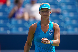 August 18, 2018 - Cincinnati, OH, U.S. - CINCINNATI, OH - AUGUST 18: Kiki Bertens (NED) reacts during the semi-final match at the Western & Southern Open at the Lindner Family Tennis Center in Mason, Ohio on August 18, 2018. (Photo by Adam Lacy/Icon Sportswire) (Credit Image: © Adam Lacy/Icon SMI via ZUMA Press)