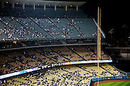 Empty stands at Dodger Stadium.