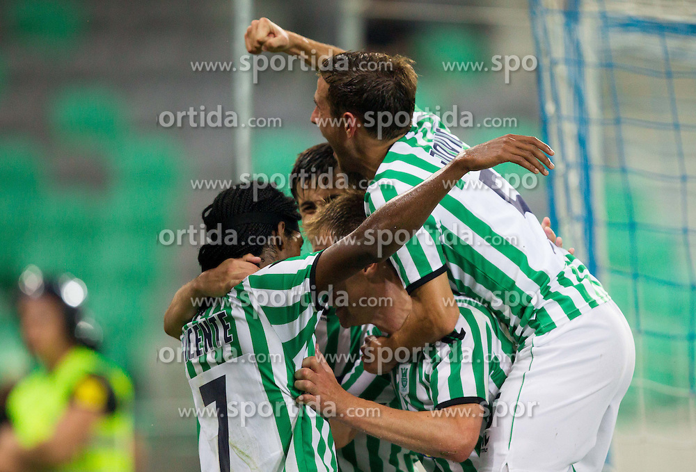 Two times scorer William Franklin Vicente and other players of NK Olimpija celebrate during football match between NK Olimpija Ljubljana and AS Jeunesse Esch (LUX) in 1st Leg of UEFA Europa League 2013  1st  Qualifying Round, on July 5, 2012 in SRC Stozice, Ljubljana, Slovenia. Olimpija defeated Jeunesse Esch 3-0. (Photo by Vid Ponikvar / Sportida.com)