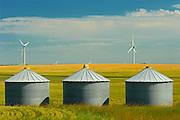 Wind turbines and grain bins<br /> SOmerset<br /> Manitoba<br /> Canada