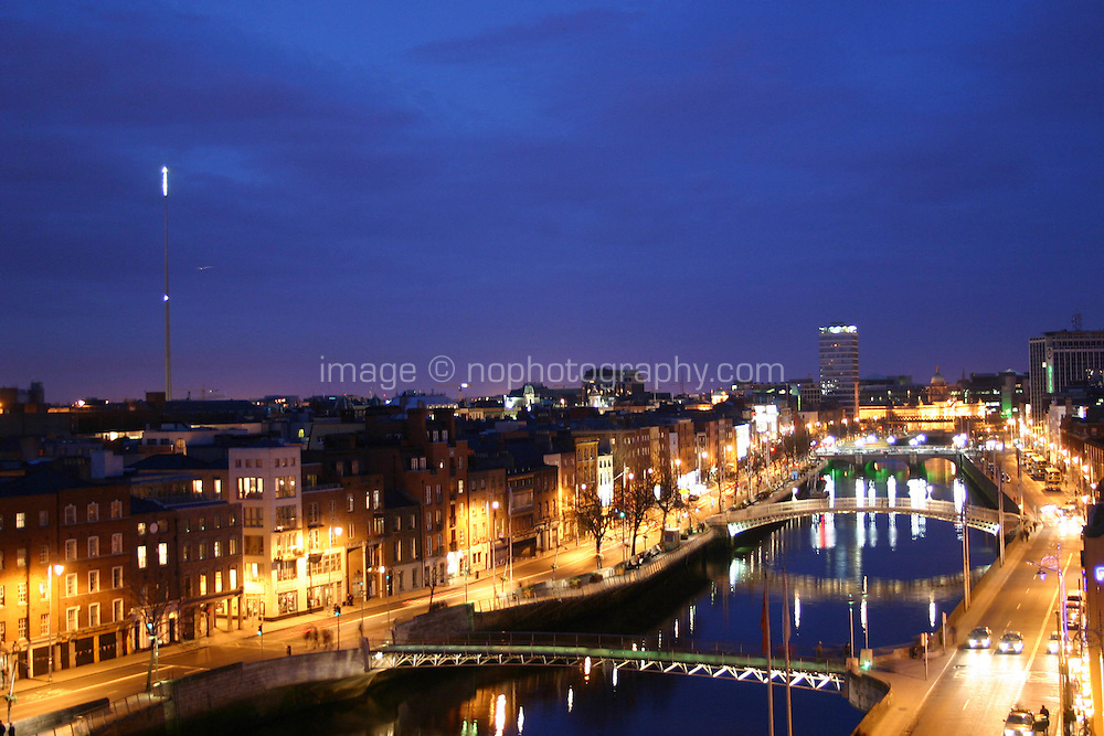 Dublin city by night, view of River Liffey and the Spire
