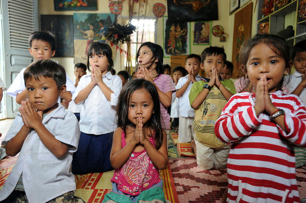 Children at school at the Little Folks centre, a place for children who have lost their parents to HIV/AIDS related deaths in Phnom Penh, Cambodia