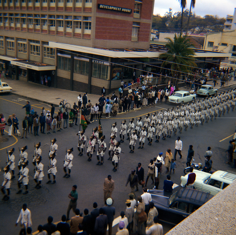 Military parade through the streets of Blantyre, Malawi in 1970.