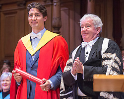 Prime Minister Justin Trudeau is bestowed with a honorary degree from Vice-Chancellor Timothy O'Shea during the convocation ceremony where he also received a honorary degree at the University of Edinburgh Wednesday, July 5, 2017 in Edinburgh.Photo by Ryan Remiorz/The Canadian Press/ABACAPRESS.COM