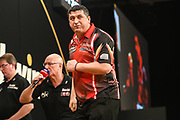 Mensur Suljovic during the 2018 Grand Slam of Darts at Aldersley Leisure Village, Wolverhampton, United Kingdom on 16 November 2018. Picture by Shane Healey.