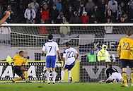 7.11.2011, Olympiastadion, Helsinki..UEFA European Championship 2012 Qualifying match, Finland v Sweden / EM-karsintaottelu Suomi - Ruotsi. .Martin Olsson tekee Ruotsin 2-0 maalin...