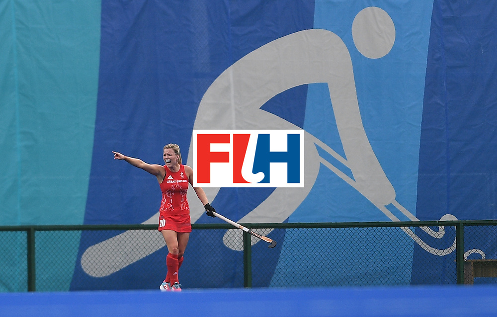 Britain's Hollie Webb gestures during the women's field hockey Britain vs Argentina match of the Rio 2016 Olympics Games at the Olympic Hockey Centre in Rio de Janeiro on August, 10 2016. / AFP / MANAN VATSYAYANA        (Photo credit should read MANAN VATSYAYANA/AFP/Getty Images)