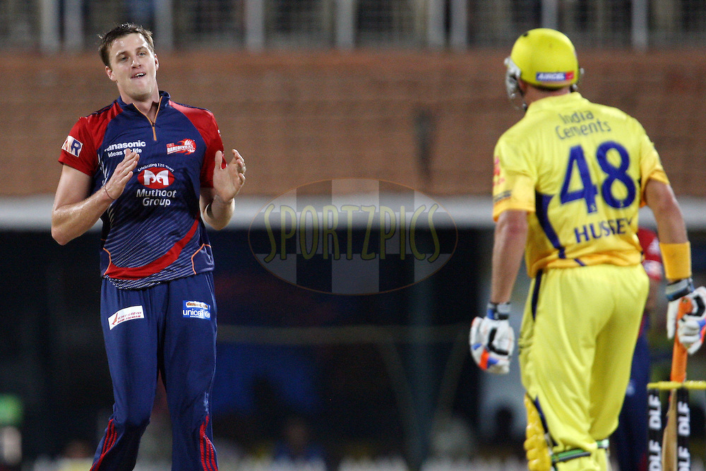 Morne Morkel and Michael Hussey during match 59 of the the Indian Premier League ( IPL) 2012  between The Chennai Superkings and the Delhi Daredevils held at the M. A. Chidambaram Stadium, Chennai on the 12th May 2012..Photo by Jacques Rossouw/IPL/SPORTZPICS