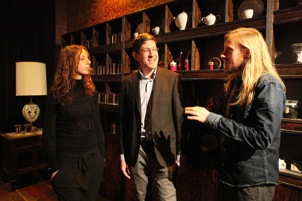 "Sleep No More is a new theater concept in Chelsea where the audience is guided through 90 rooms in an experiential tour that involves interpretative dancers and incredibly detailed sets. L-R Director and choreographer Maxine Doyle, producer Randy Weiner, and director and designer Felix Barrett in the ""hotel lobby"" space...CREDIT: Daniella Zalcman for The Wall Street Journal.SLUG: SLEEPNOMORE"