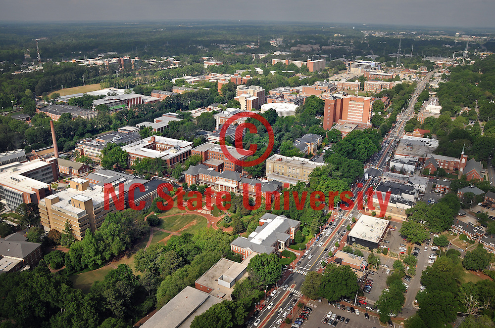Aerial view of campus looking southwest.