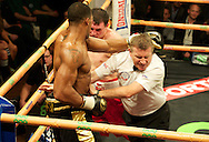 Picture by Alan Stanford/Focus Images Ltd +44 7915 056117<br /> 14/11/2013<br /> The referee stops the fight as Anthony Joshua beats his latest opponent  Hrvoje Kisicek with a TKO during their heavyweight contest at York Hall, Bethnal Green.