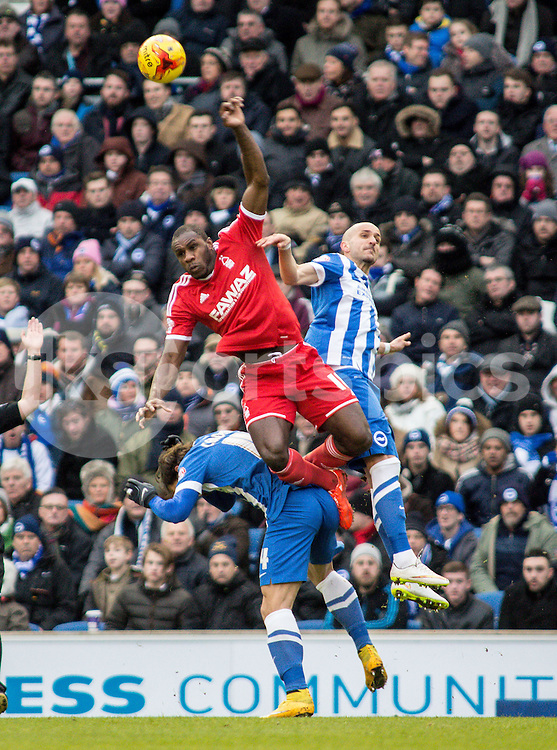 Michail Antonio of Nottingham Forest and Bruno Saltor of Brighton during the Sky Bet Championship match between Brighton and Hove Albion and Nottingham Forest at the AMEX Stadium, Brighton, England on 7 February 2015. Photo by Liam McAvoy.