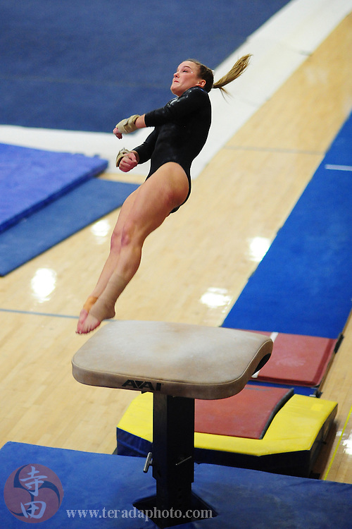 February 7, 2010; Stanford, CA, USA; Stanford Cardinal gymnast Blair Ryland performs on the vault during a quad-meet against the Washington Huskies, the Sacramento State Hornets, and the San Jose State Spartans at Burnham Pavilion. Stanford scored 196.650, Washington 194.075, Sacramento State 193.225, and San Jose State 192.800. Mandatory Credit: Kyle Terada-Terada Photo