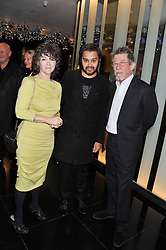 Left to right, ANWEN REES MEYERS, PABLO GANGULI and JOHN HURT at W London - Leicester Square for the Liberatum Cultural Honour in Spice Market for John Hurt, CBE in association with artist Svetlana K-Lié on 10th April 2013.