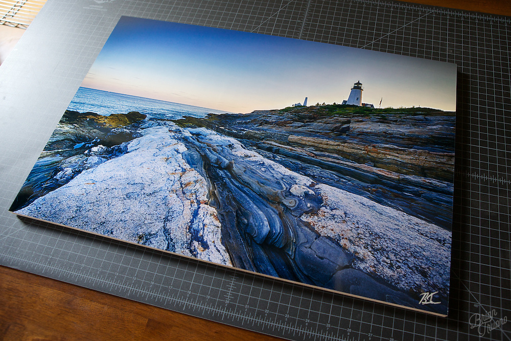 &quot;Pemaquid Blue&quot; at 24&quot;x16&quot; metallic paper, mounted to maple plywood.<br />